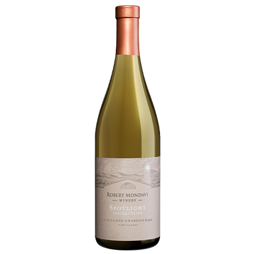 A bottle of 2019 Robert Mondavi Winery Unoaked Chardonnay Napa Valley on a white background.