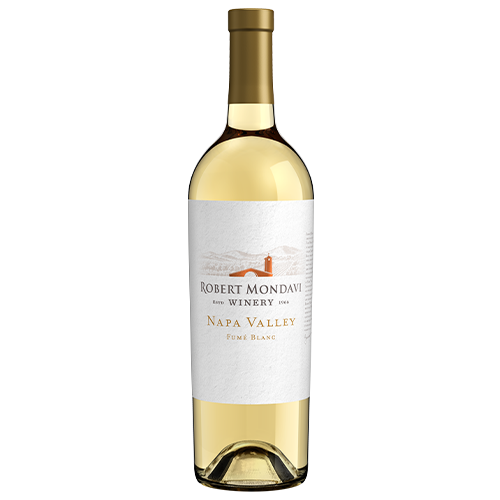 A bottle of 2018 Robert Mondavi Winery Fume Blanc Napa Valley on a white background.