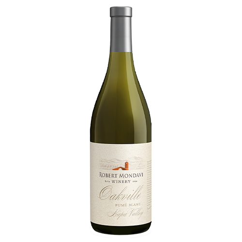 A bottle of 2018 Robert Mondavi Winery Fume Blanc Oakville Napa Valley on a white background.