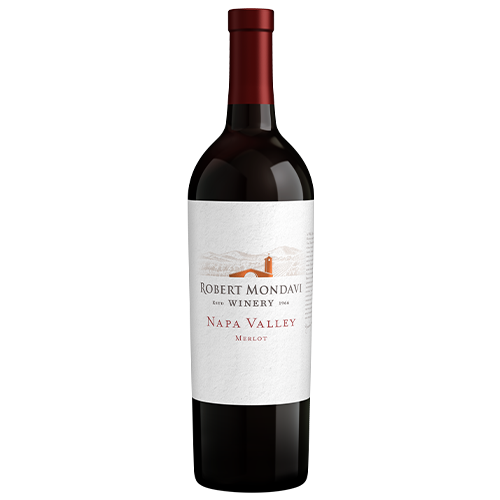 A bottle of 2018 Robert Mondavi Winery Merlot Napa Valley on a white background.