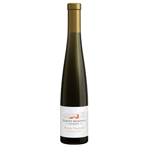 A bottle of 2019 Robert Mondavi Winery Moscato d'Oro Napa Valley 375mL on a white background.