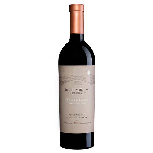 A bottle of 2015 Robert Mondavi Winery Petit Verdot Oakville Napa Valley on a white background.