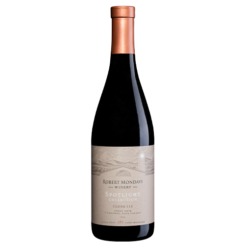 A bottle of 2017 Robert Mondavi Winery Clone 115 Pinot Noir Carneros Napa Valley on a white background.