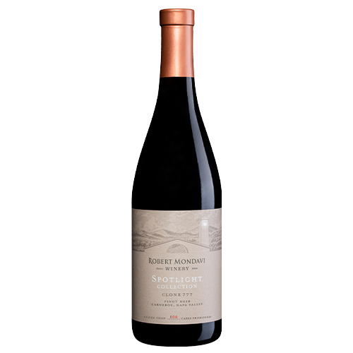 A bottle of 2018 Robert Mondavi Winery Clone 777 Pinot Noir Carneros Napa Valley on a white background.