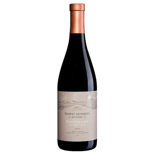 A bottle of 2017 Robert Mondavi Winery PNX Pinot Noir Carneros Napa Valley on a white background.