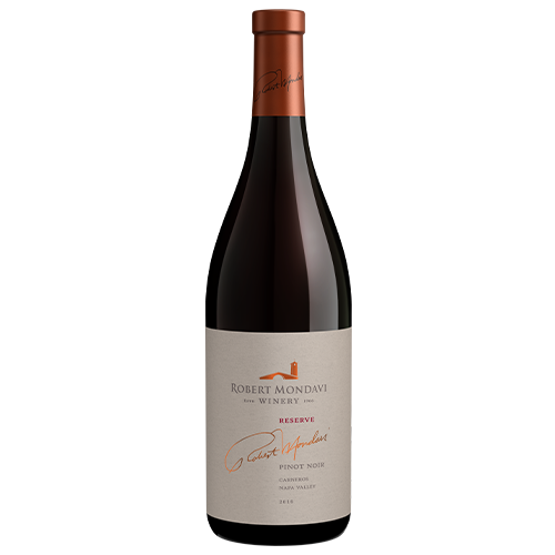 A bottle of 2016 Robert Mondavi Winery Reserve Pinot Noir Carneros Napa Valley on a white background.
