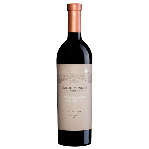 A bottle of 2015 Robert Mondavi Winery Momentum Red Wine Napa Valley on a white background.
