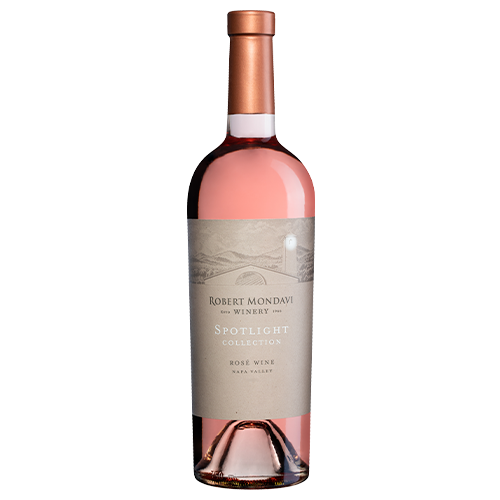 A bottle of 2019 Robert Mondavi Rosé Napa Valley on a white background.