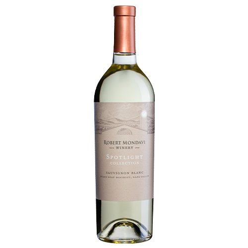 A bottle of 2019 Robert Mondavi Winery Sauvignon Blanc Stags Leap District Napa Valley on a white background.
