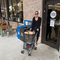 shopping grocery with bag buddy carts women in black with googles
