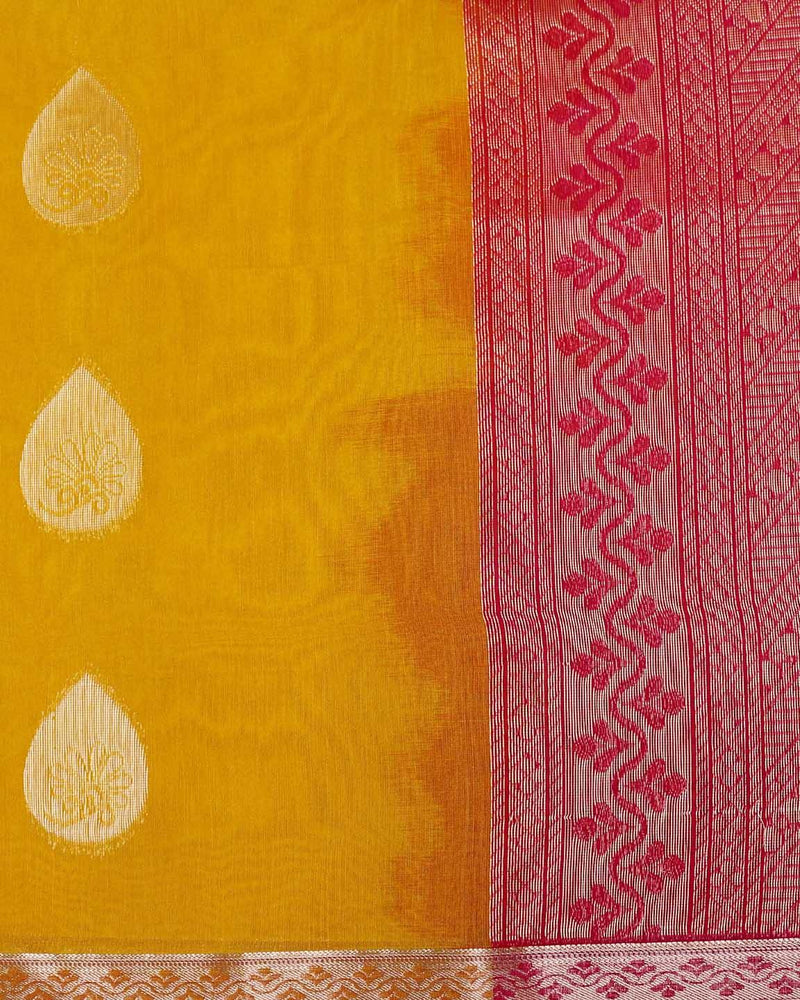 DARK YELLOW SILK COTTON SAREE WITH GOLDEN ZARI BUTTAS AND SMALL BORDER -  Varnam Sarees : Kanchipuram silk saree | Silk Cotton Sarees | Soft Silk Sarees.