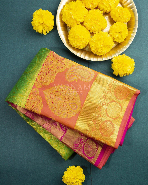 LIGHT GREEN KANCHIPURAM SILK SAREE WITH GOLDEN ZARI WORK -  Varnam Sarees : Kanchipuram silk saree | Silk Cotton Sarees | Soft Silk Sarees.