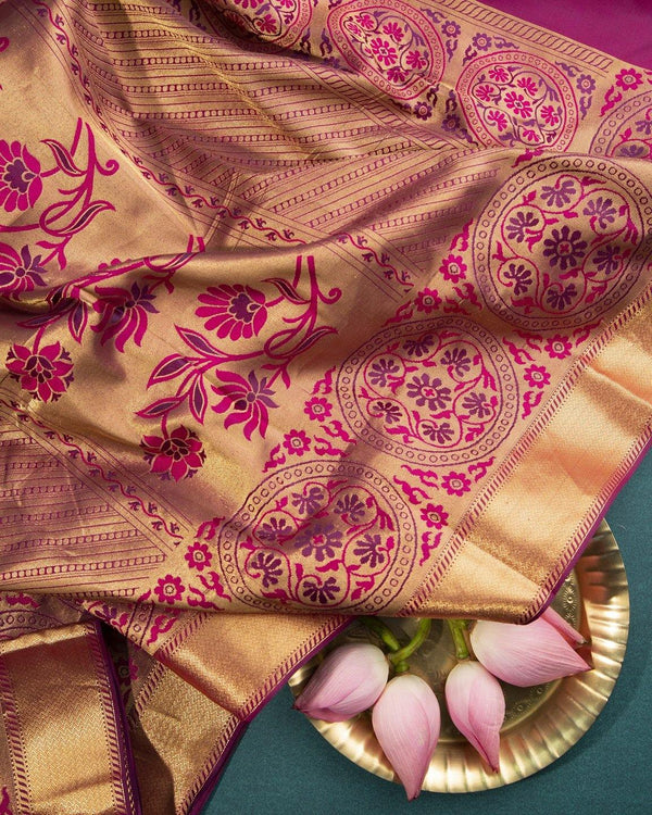 DEEP MAGENTA KANCHIPURAM SILK SAREE WITH GOLD ZARI BORDER -  Varnam Sarees : Kanchipuram silk saree | Silk Cotton Sarees | Soft Silk Sarees.