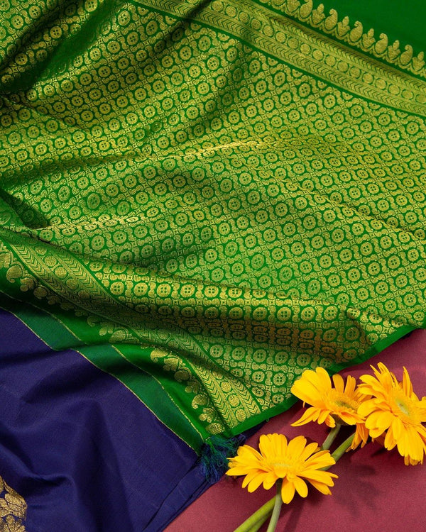 ROYAL BLUE KANCHIPURAM SILK SAREE WITHOUT BORDER -  Varnam Sarees : Kanchipuram silk saree | Silk Cotton Sarees | Soft Silk Sarees.