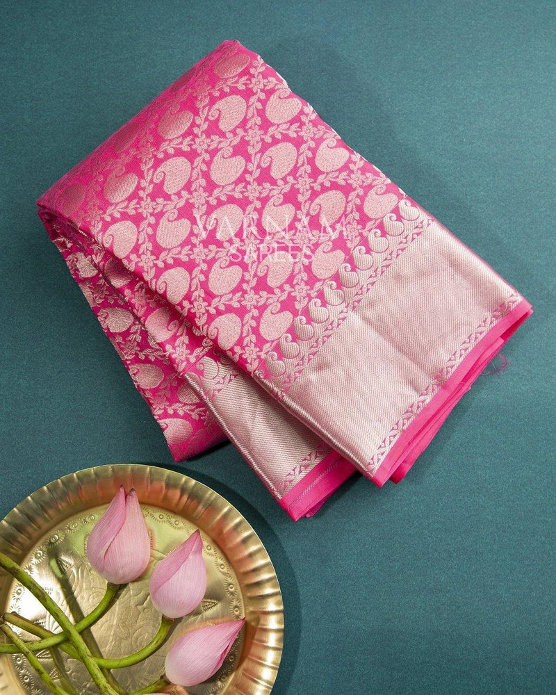 PINK KANCHIPURAM SILK SAREE WITH SILVER ZARI WORK -  Varnam Sarees : Kanchipuram silk saree | Silk Cotton Sarees | Soft Silk Sarees.