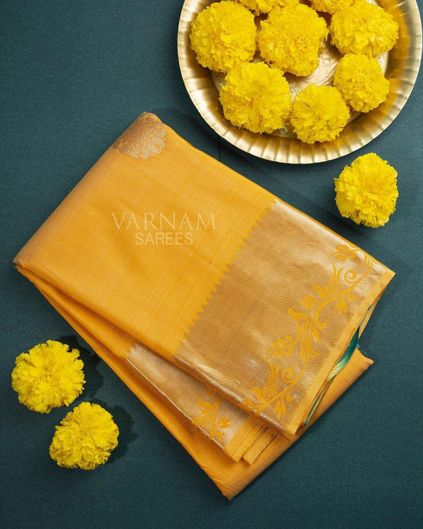 MERIGOLD KANCHIPURAM SILK SARREE WITH SILVER BIRDS BORDER -  Varnam Sarees : Kanchipuram silk saree | Silk Cotton Sarees | Soft Silk Sarees.