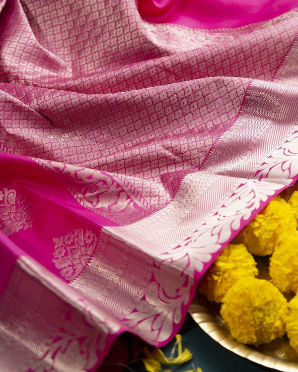 DEEP LOTUS PINK KANCHIPURAM SILK SAREE WITH SILVER ZARI WORK -  Varnam Sarees : Kanchipuram silk saree | Silk Cotton Sarees | Soft Silk Sarees.