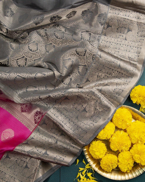 LOTUS PINK KANCHIPURAM SILK SAREE WITH SILVER ZARI BUTTAS AND BORDER -  Varnam Sarees : Kanchipuram silk saree | Silk Cotton Sarees | Soft Silk Sarees.