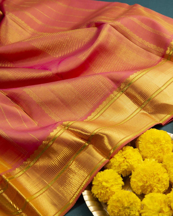 ORANGE KANCHIPURAM SILK SAREE WITH BEAUTIFUL SMALL CHECKERED BUTTAS -  Varnam Sarees : Kanchipuram silk saree | Silk Cotton Sarees | Soft Silk Sarees.