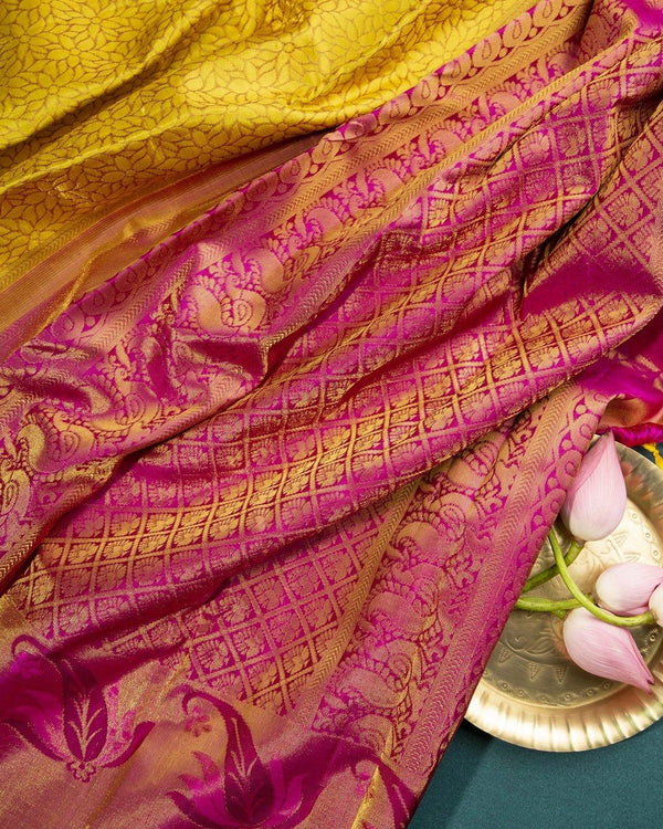 MEHANDI YELLOW KANCHIPURAM SILK SAREE WITH MAGENTA BORDER -  Varnam Sarees : Kanchipuram silk saree | Silk Cotton Sarees | Soft Silk Sarees.