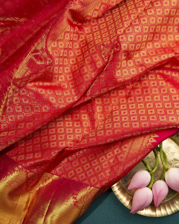 PINK KANCHIPURAM SILK SAREE WITH BROCADE IN ALL OVER SAREE -  Varnam Sarees : Kanchipuram silk saree | Silk Cotton Sarees | Soft Silk Sarees.