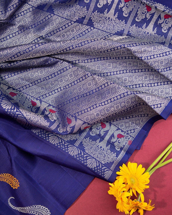 BLUE KANCHIPURAM SILK SAREE WITHOUT BORDER AND BEAUTIFUL BUTTAS -  Varnam Sarees : Kanchipuram silk saree | Silk Cotton Sarees | Soft Silk Sarees.