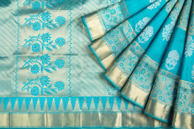 AQUA KANCHIPURAM SILK SAREE WITH GOLD ZARI BORDER -  Varnam Sarees : Kanchipuram silk saree | Silk Cotton Sarees | Soft Silk Sarees.