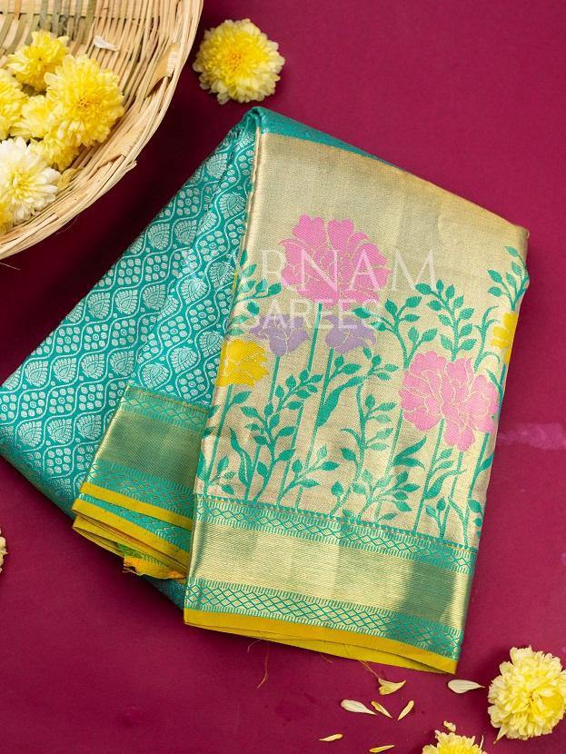 SPRING GREEN COLOR KANCHIPURAM SILK SAREE -  Varnam Sarees : Kanchipuram silk saree | Silk Cotton Sarees | Soft Silk Sarees.