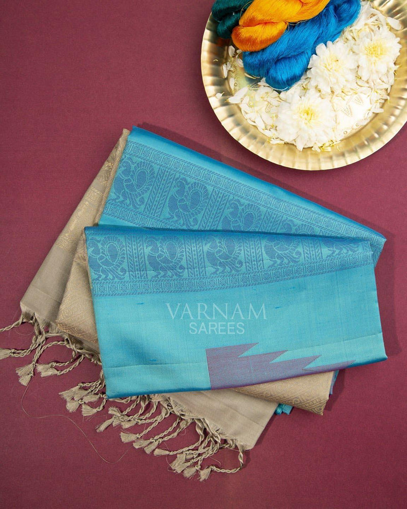 AUQA BLUE SOFT SILK SAREE WITH TEMPLE DESIGNS BUTTAS -  Varnam Sarees : Kanchipuram silk saree | Silk Cotton Sarees | Soft Silk Sarees.