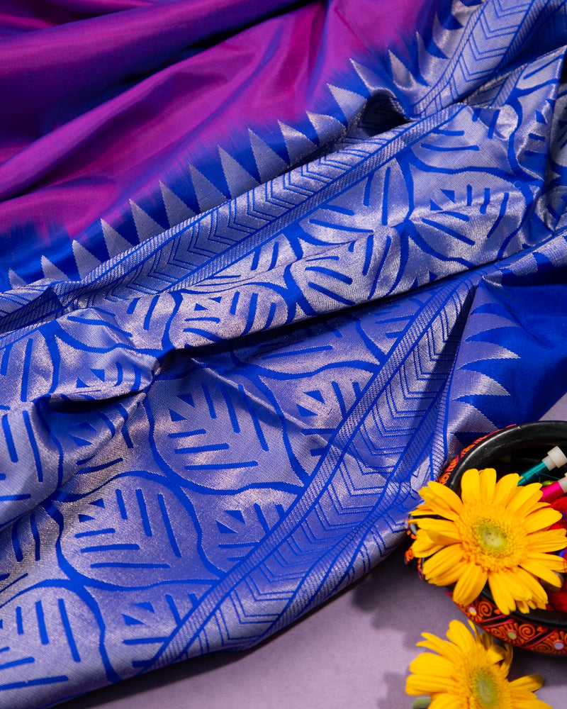 VIOLET AND ROYAL BLUE SOFT SILK SAREE WITH SILVER ZARI BUTTAS