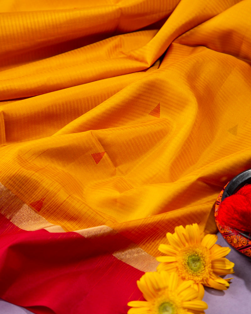 TURMERIC YELLOW AND MAROON SOFT SILK SAREE WITH TEMPLE DESIGN IN GOLDEN ZARI