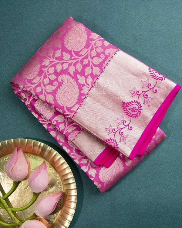 LOTUS PINK KANCHIPURAM SILK SAREE WITH SILVER ZARI BORDER VINES PALLU -  Varnam Sarees : Kanchipuram silk saree | Silk Cotton Sarees | Soft Silk Sarees.