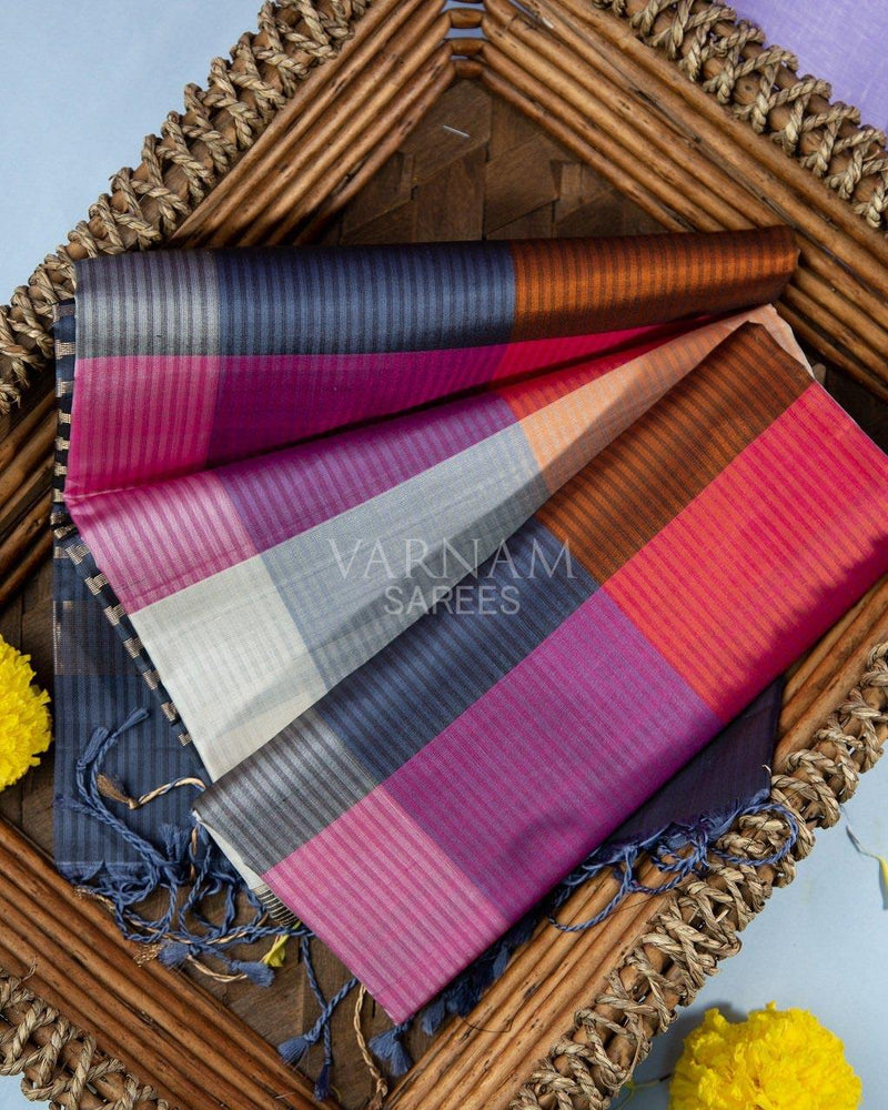 DEEP CADET BLUE AND MULTI COLOR CHECKERED SOFT SILK SAREE -  Varnam Sarees : Kanchipuram silk saree | Silk Cotton Sarees | Soft Silk Sarees.