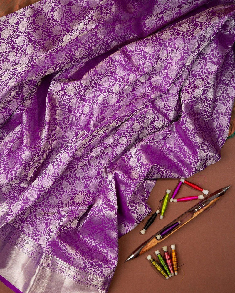 DARK PURPLE SILVER ZARI BROCADE KANCHIPURAM SILK SAREE -  Varnam Sarees : Kanchipuram silk saree | Silk Cotton Sarees | Soft Silk Sarees.