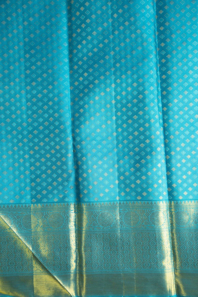 DARK SEARED GRAY KANCHIPURAM SILK SAREE WITH AQUA BIG BORDER -  Varnam Sarees : Kanchipuram silk saree | Silk Cotton Sarees | Soft Silk Sarees.
