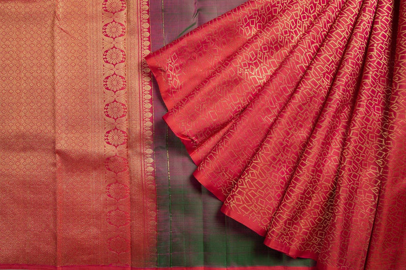 GREEN WITH RED GOLDEN ZARI HALF AND HALF KANCHIPURAM SILK SAREE -  Varnam Sarees : Kanchipuram silk saree | Silk Cotton Sarees | Soft Silk Sarees.