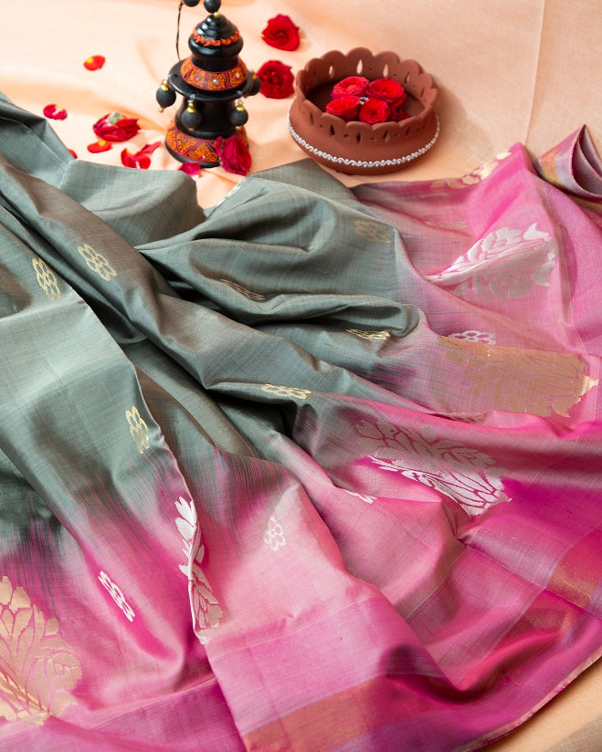 SILVER ROD SOFT SILK SAREE WITH PINK PALLU & BORDER