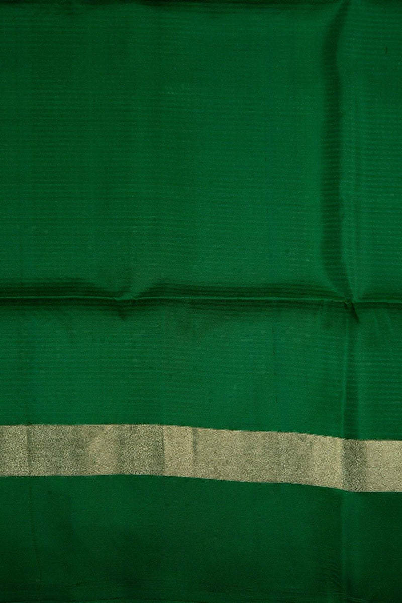 LEAF GREEN AND GOLDEN SANDAL SOFT SILK SAREE WITH GOLD ZARI PALLU -  Varnam Sarees : Kanchipuram silk saree | Silk Cotton Sarees | Soft Silk Sarees.