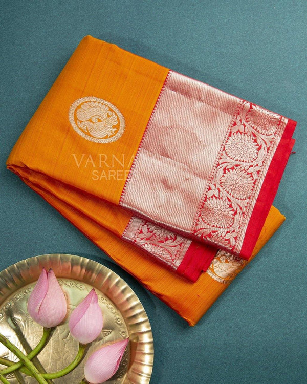 MUSTARD KANCHIPURAM SILK SAREE WITH PEACOCK BUTTAS IN CHAKRA -  Varnam Sarees : Kanchipuram silk saree | Silk Cotton Sarees | Soft Silk Sarees.