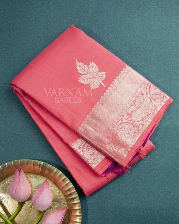 CORAL COLOR KANCHIPURAM SILK SAREE WITH SILVER ZARI BORDER AND BUTTAS -  Varnam Sarees : Kanchipuram silk saree | Silk Cotton Sarees | Soft Silk Sarees.