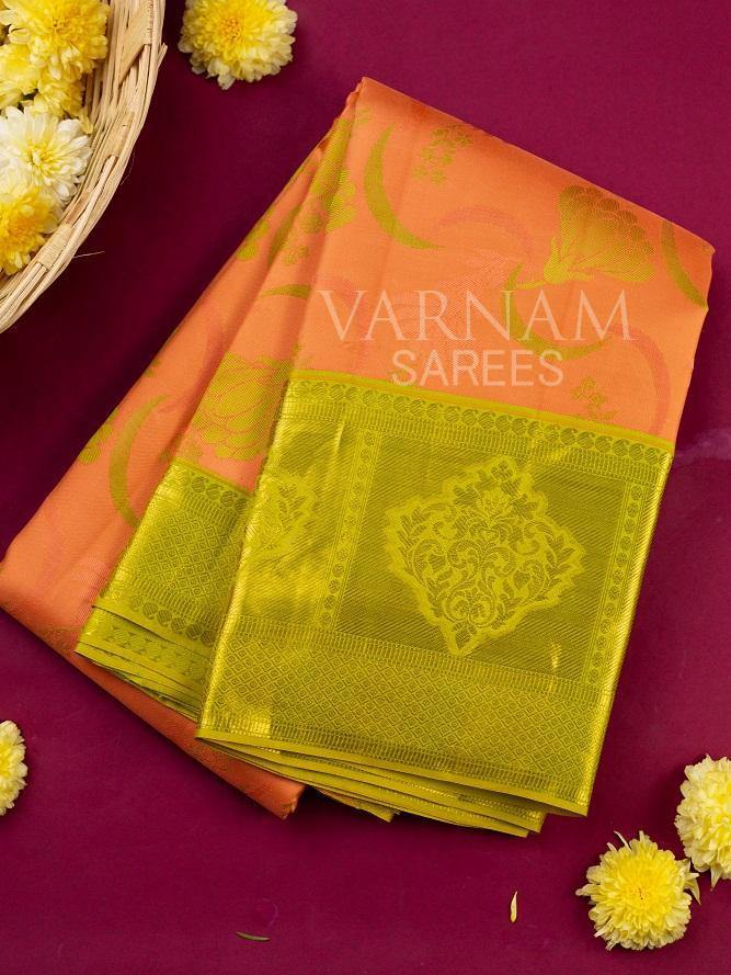 CORAL TONED UPPADA BODY KANCHIPURAM SILK SAREE -  Varnam Sarees : Kanchipuram silk saree | Silk Cotton Sarees | Soft Silk Sarees.