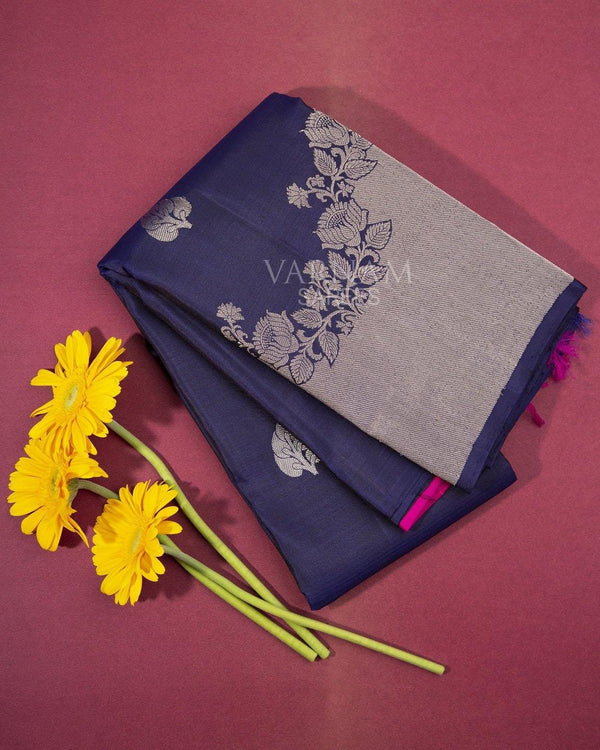 NAVY BLUE KANCHIPURAM SILK SAREE WITH SILVER ZARI WORK IN TURNING BORDER -  Varnam Sarees : Kanchipuram silk saree | Silk Cotton Sarees | Soft Silk Sarees.