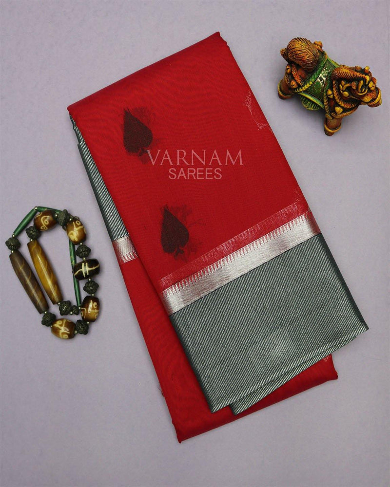 BERRY RED SILK COTTON SAREE WITH TISSUE BORDER -  Varnam Sarees : Kanchipuram silk saree | Silk Cotton Sarees | Soft Silk Sarees.