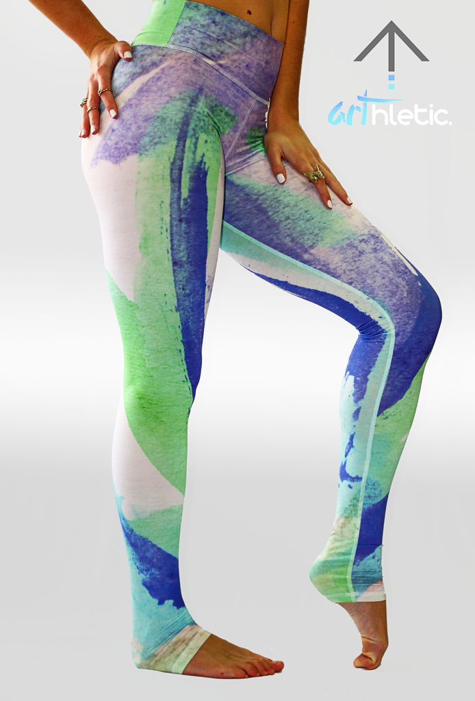 Azure Splash Leggings - Arthletic Wear
