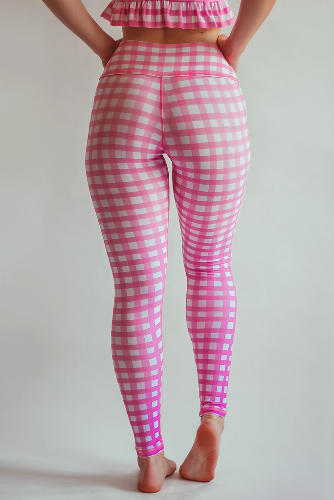 Gingham Style Leggings - Pink - Arthletic Wear