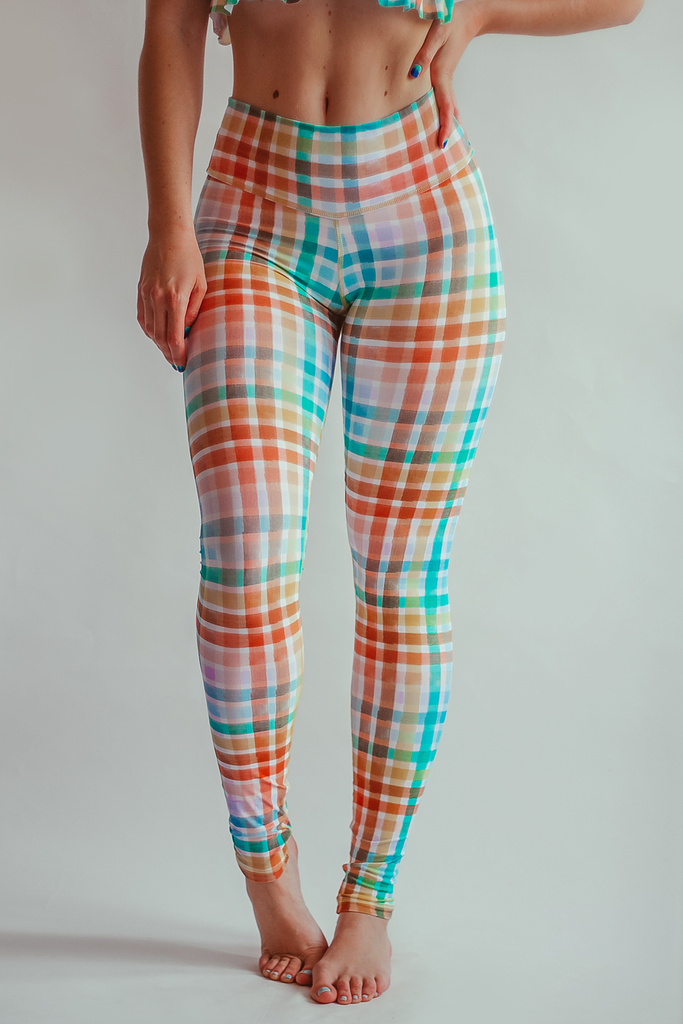 Gingham Style Leggings - Rainbow - Arthletic Wear