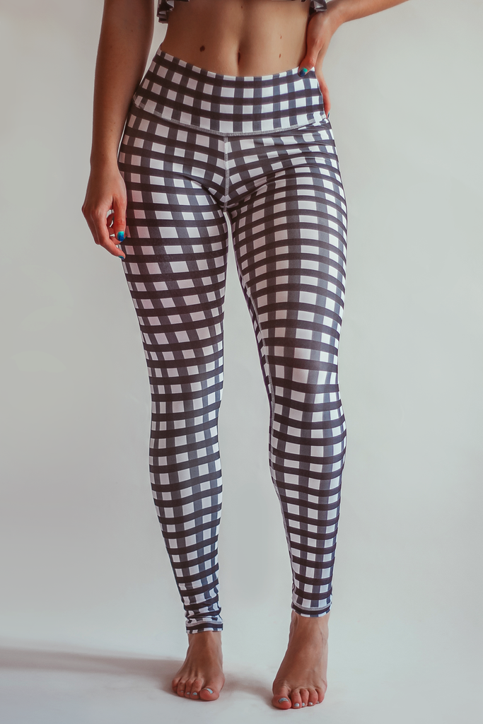 Gingham Style Leggings - Black - Arthletic Wear