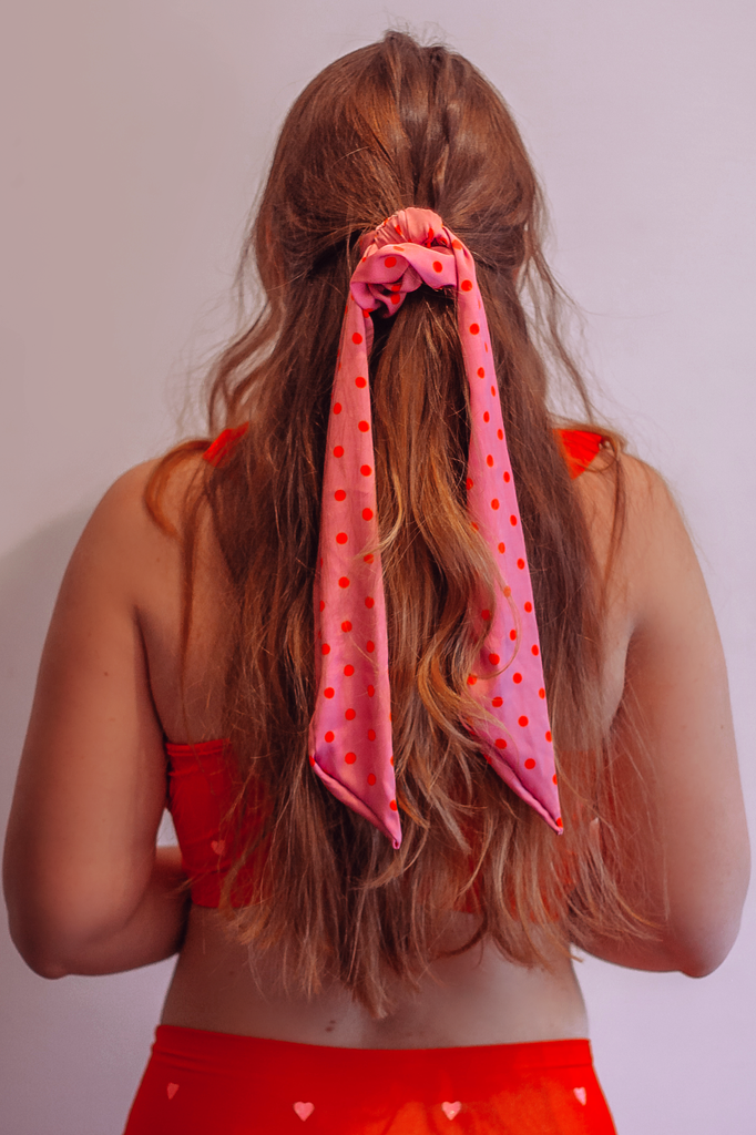 Purple and Orange Polka Dot Silk Hair Pony Scarf Scrunchie