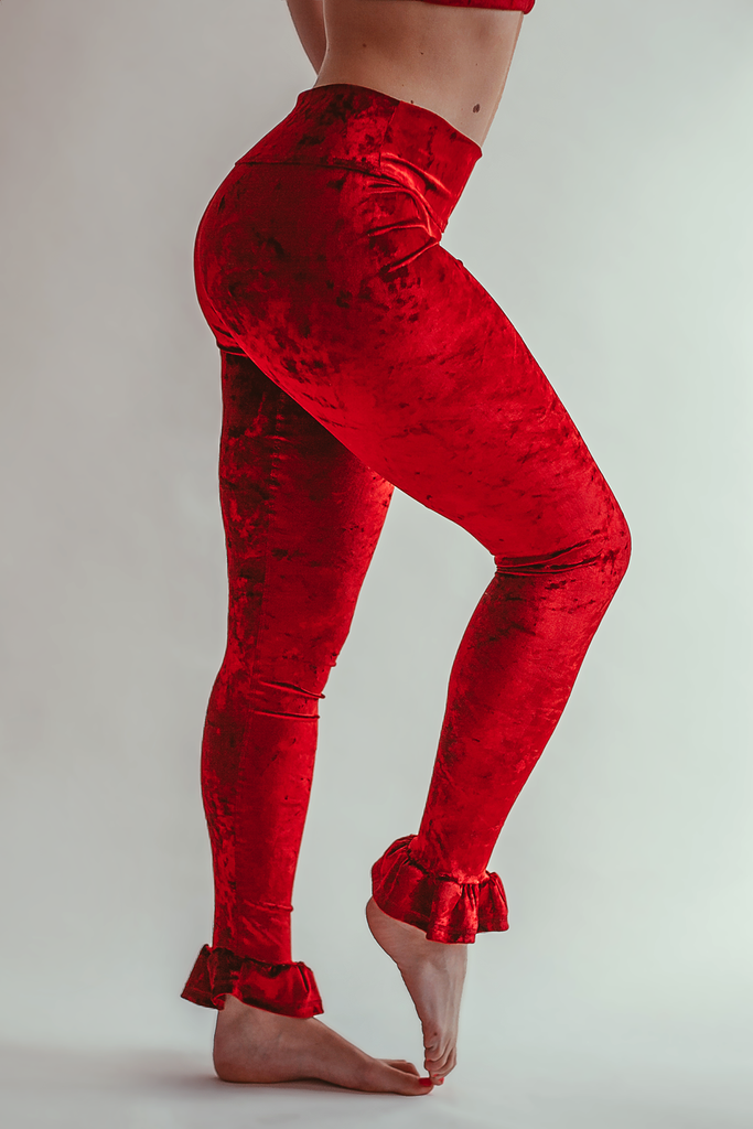 Be My Galentine Velvet Leggings - Arthletic Wear