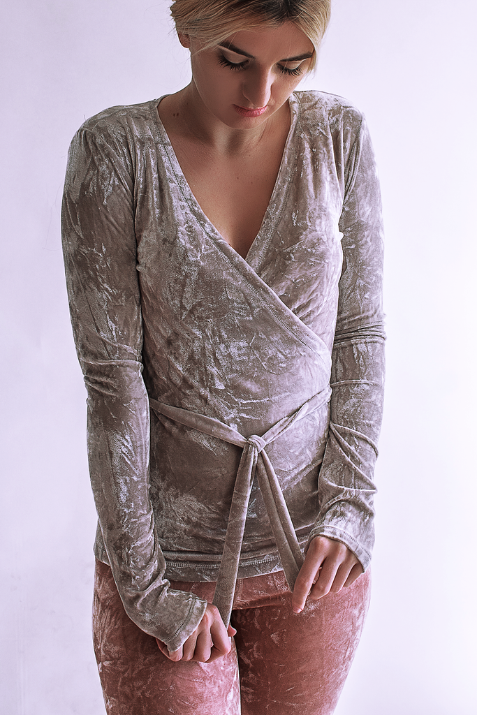 Long Sleeve Silver Velvet Ballet Wrap Top